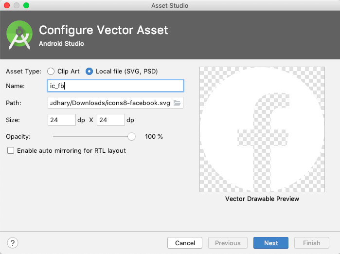 Vector Asset Tool in Android Studio
